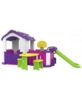 Záhradný domček so šmykľavkou a posedením 5 v 1 fialový